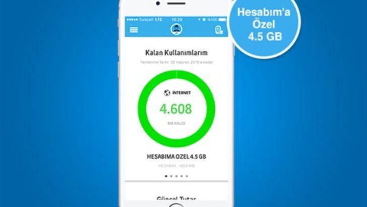 Turkcell Hesabım 4.5 GB İnternet Paketi 15 TL