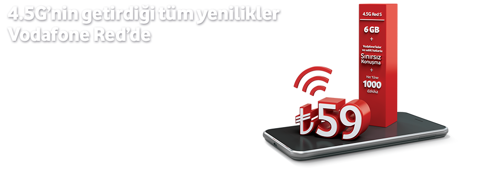 Vodafone 4.5G Red S Tarifesi 1000Dk, 1000 Sms 6GB internet 59 TL