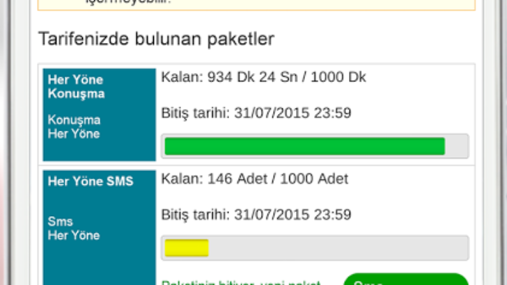 Vodafone Faturalı/Faturasız Dakika, Sms ve İnternet Sorgulama