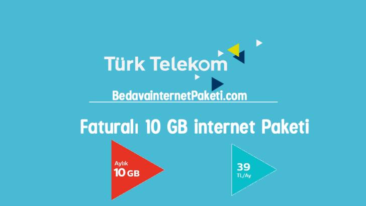 Türk Telekom Faturalı 10 GB internet Paketi