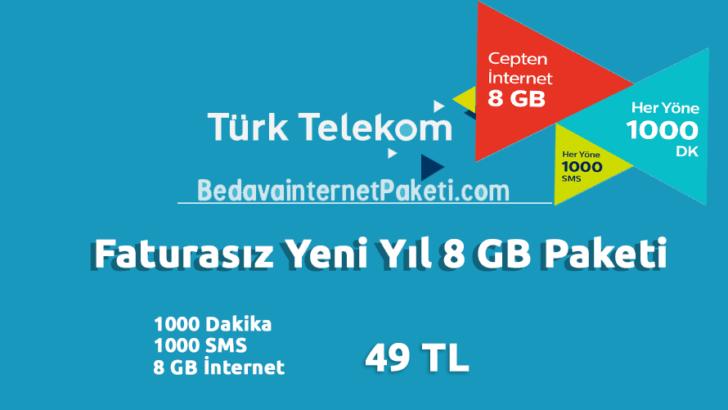 Türk Telekom Yeni Yıl 8 GB Tarifesi – 8 GB internet Paketi