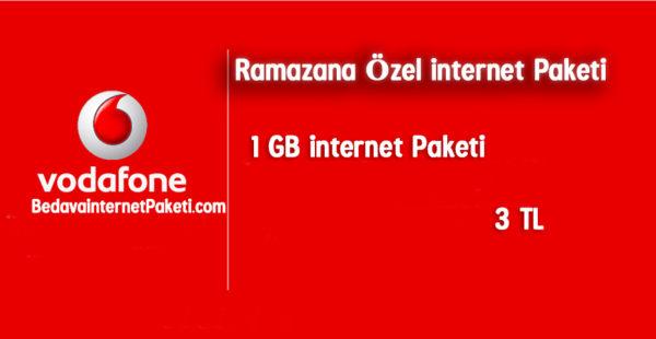 Vodafone Ramazana Özel 1 GB internet Paketi 3 TL