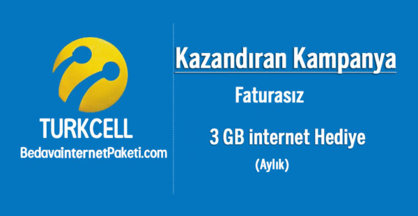 Turkcell Kazandıran Kampanya 3 GB Bedava internet