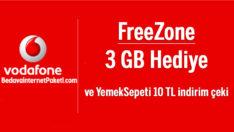 Vodafone FreeZone 3 GB Bedava internet – YemekSepeti Hediye Çeki