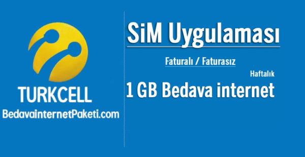 Turkcell SiM Haftalık 1 GB Bedava internet Kampanyası