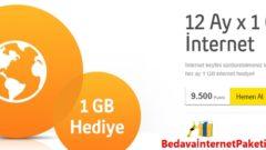 Turkcell 12 Ay Geçerli Bedava 1GB İnternet