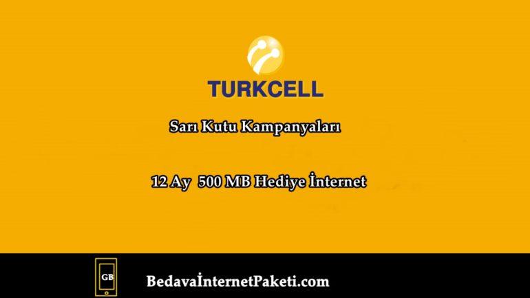 Turkcell Sarı Kutu 12 Ay 500 MB Bedava İnternet Paketi