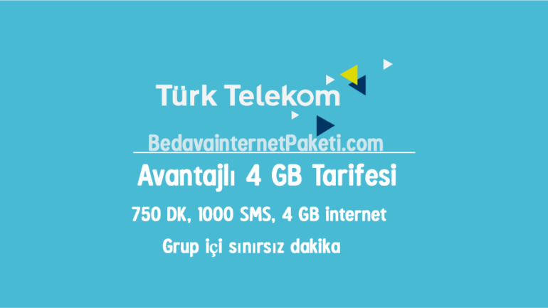 Türk Telekom Esnaflara Özel Avantajlı 4 GB internet Tarifesi