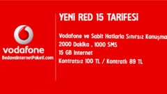 Vodafone Yeni RED 15 Tarifesi – 15 GB internet Paketi