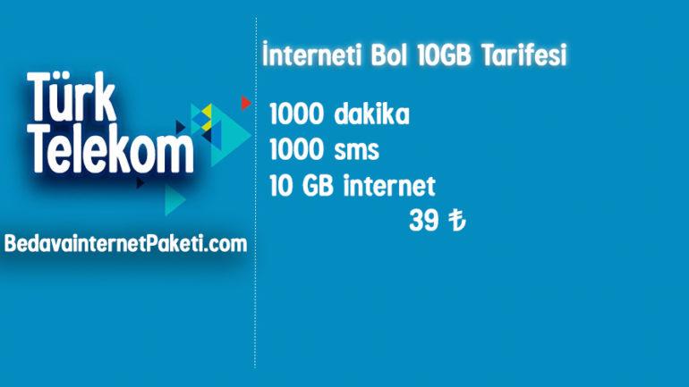 Türk Telekom İnterneti Bol 10 GB internet Tarifesi