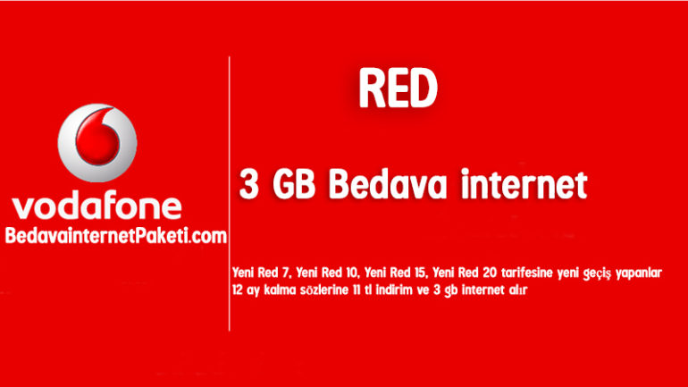 Vodafone RED 3 GB Bedava internet