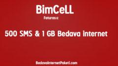 Bimcell 500 SMS ve 1 GB Bedava internet Hediye