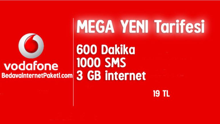 Vodafone Mega Yeni Tarifesi – 3 GB internet Paketi