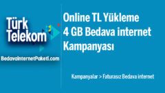 Türk Telekom Online TL Yükleme 4 GB Bedava internet