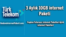Türk Telekom 3 Aylık 10 GB internet Paketi