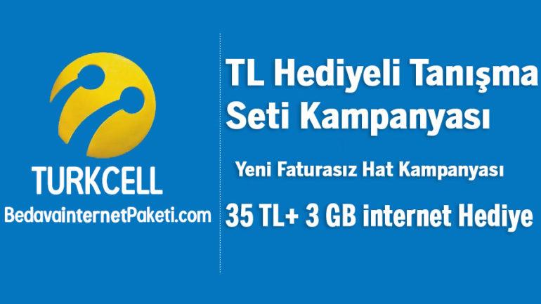 Turkcell 35 TL + 3 GB Bedava internet Paketi