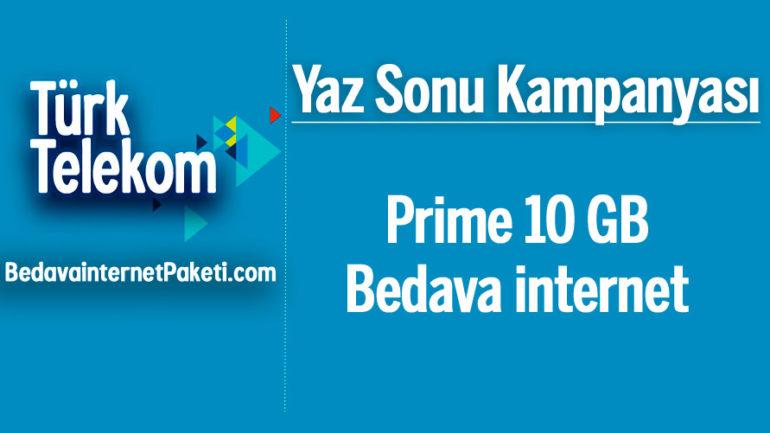 Türk Telekom Yaz Sonu 10 GB Bedava internet Kampanyası