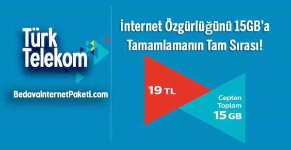 Türk Telekom Tamamla 15 GB internet Paketi