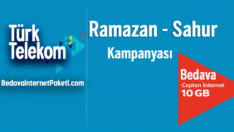 Türk Telekom 10 GB Sahur – Ramazan Bedava internet Paketi 2018