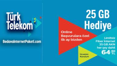 Türk Telekom 25 GB Bedava internet Fiber Hızlı Net Kampanyası