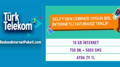 Türk Telekom Selfy Sarı Paket 10 GB internet 29 TL