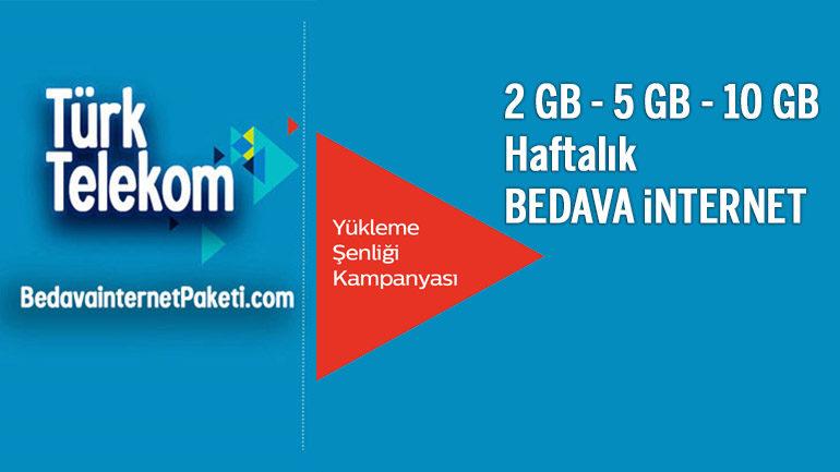 Türk Telekom Yükleme Şenliği 2 GB – 5 GB – 10 GB Hediye internet