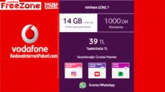 Vodafone Kafama Göre 7 Tarifesi – 14 GB internet Paketi 39 TL