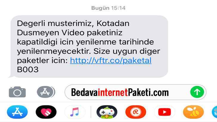 Vodafone Kotadan Düşmeyen Video Paketi