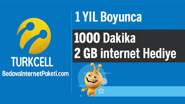 Turkcell 1 Yıl 1000 Dakika – 2 GB Bedava internet