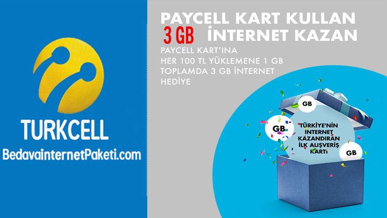 Turkcell Paycell Kullan 3 GB Bedava internet Kazan