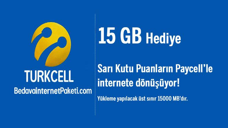 Turkcell Sarı Kutu Paycell Kampanyası 15 GB Bedava internet