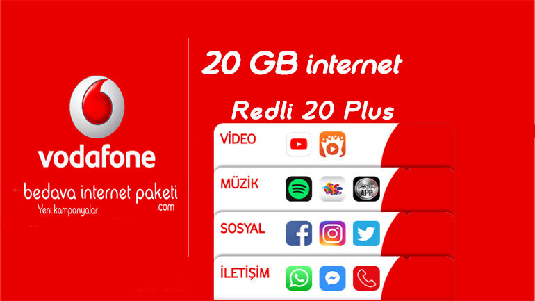 Vodafone Redli 20 Plus Paketi – Youtube Bedava internet