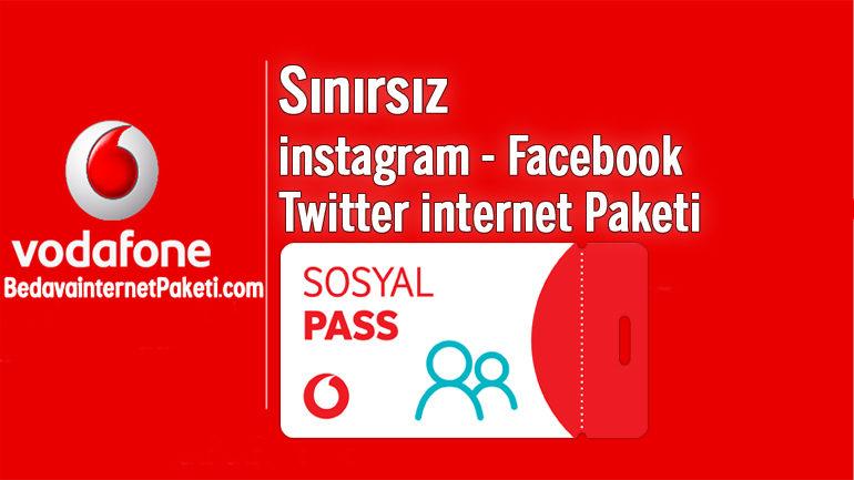 Vodafone Sosyal Pass Sınırsız instagram – Facebook ve Twitter internet Paketi
