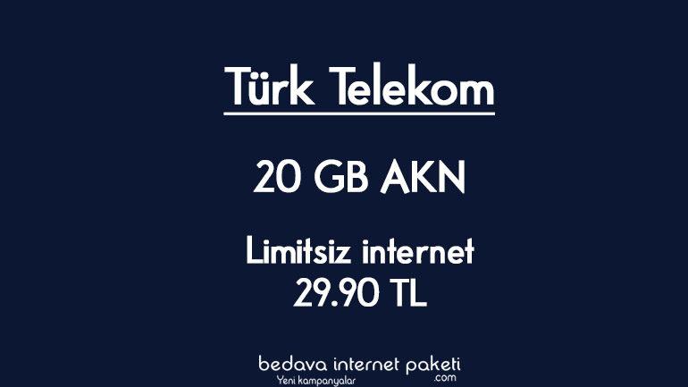 Türk Telekom Limitsiz 20 GB AKN internet 29.90 TL