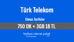 Türk Telekom Elmas Tarifeleri – 3 GB internet 750 DK 18 TL