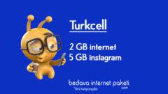 Turkcell 2 GB Bedava internet – 5 GB instagram Paketi