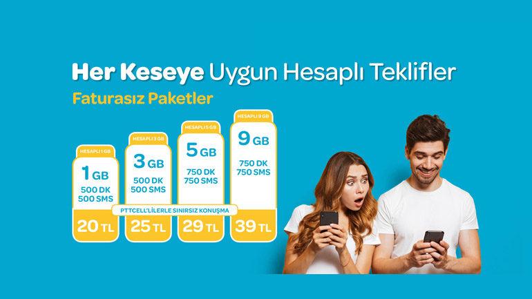Pttcell Hesaplı 9 GB Tarifesi – 9 GB internet 750 DK 39 TL