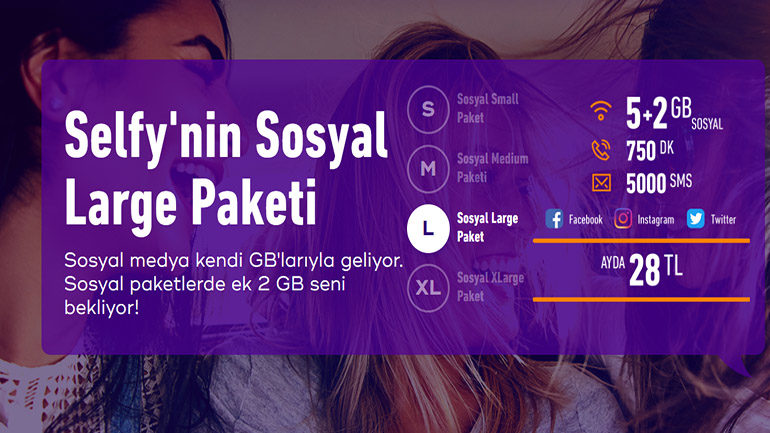 Türk Telekom Selfy Sosyal Large Paketi 5+2 GB 28 TL