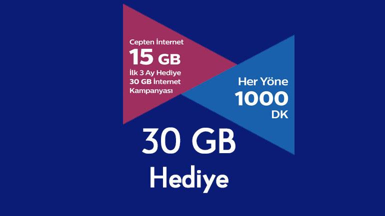 Türk Telekom Cebimde Tarifeler ilk 3 Ay 30 GB internet Hediye