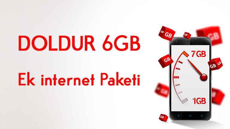 Vodafone DOLDUR 6 GB Ek internet   Bedava internet Paketi