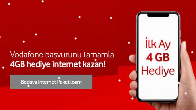 Başvurunu Tamamla İlk Ay 4 GB Vodafone Cepten internet Hediye