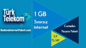 Türk Telekom Cumadan Pazara Paketi Sınırsız 1 GB internet