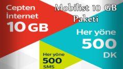 Mobilist 10 GB İnternet Paketi
