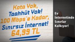 Evde İnternet Keyfinde Sınırlar Kalkıyor! Kotasız Sınırsız İnternet Paketi