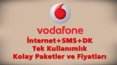 Vodafone Faturasız Tek Seferlik Kolay Paketler İnternet, SMS, DK